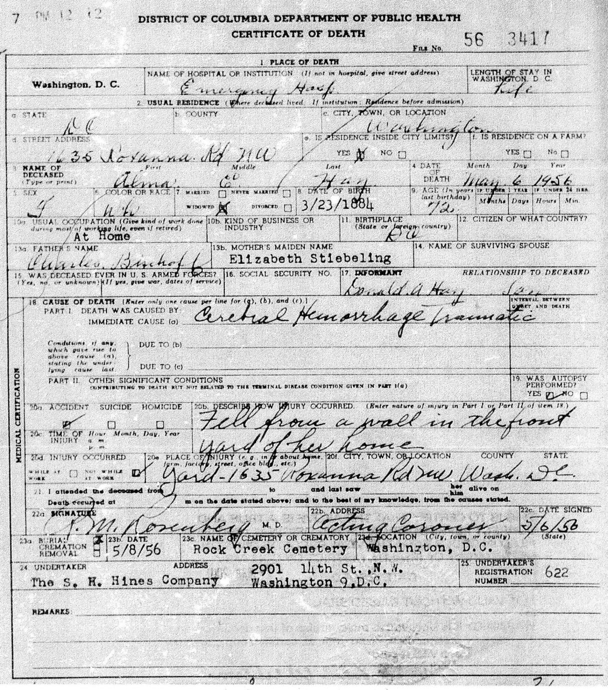 Alma bischoff and robert hay genealogy died may 6 1956 washington dc cerebral hemorrhage death certificate xflitez Image collections